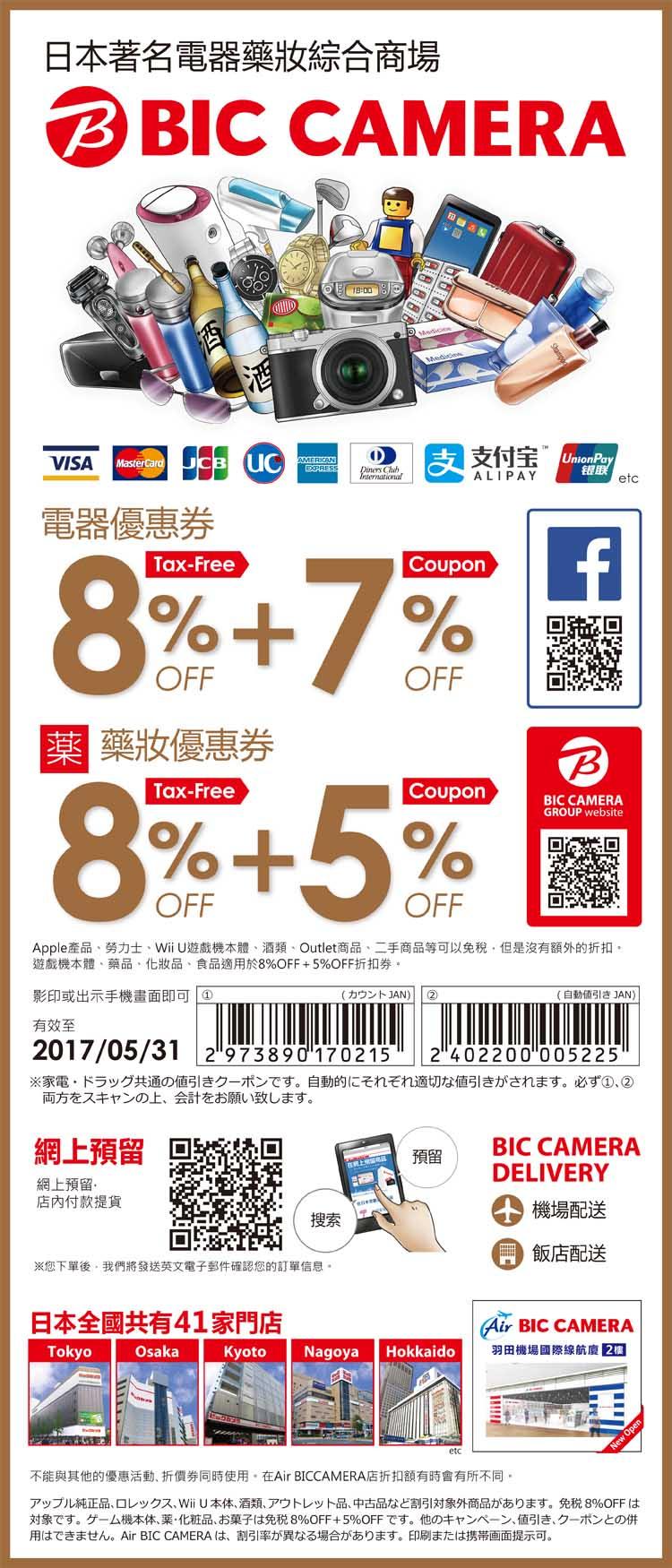 BIC CAMERA 免税8%+優待6% OFF 優惠折價券免費下載|日本最大3C賣場!相機藥妝紅酒精品超好買!