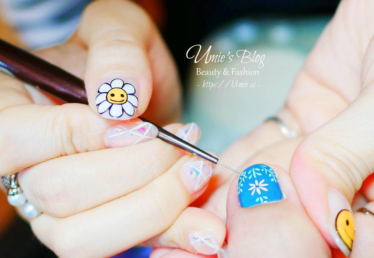 新娘訂婚指甲推薦款式|我的訂婚式:搭配和服的日系手繪金箔漸層花朵 :)) (夏天的繽紛德國鄉村風腳部光療)