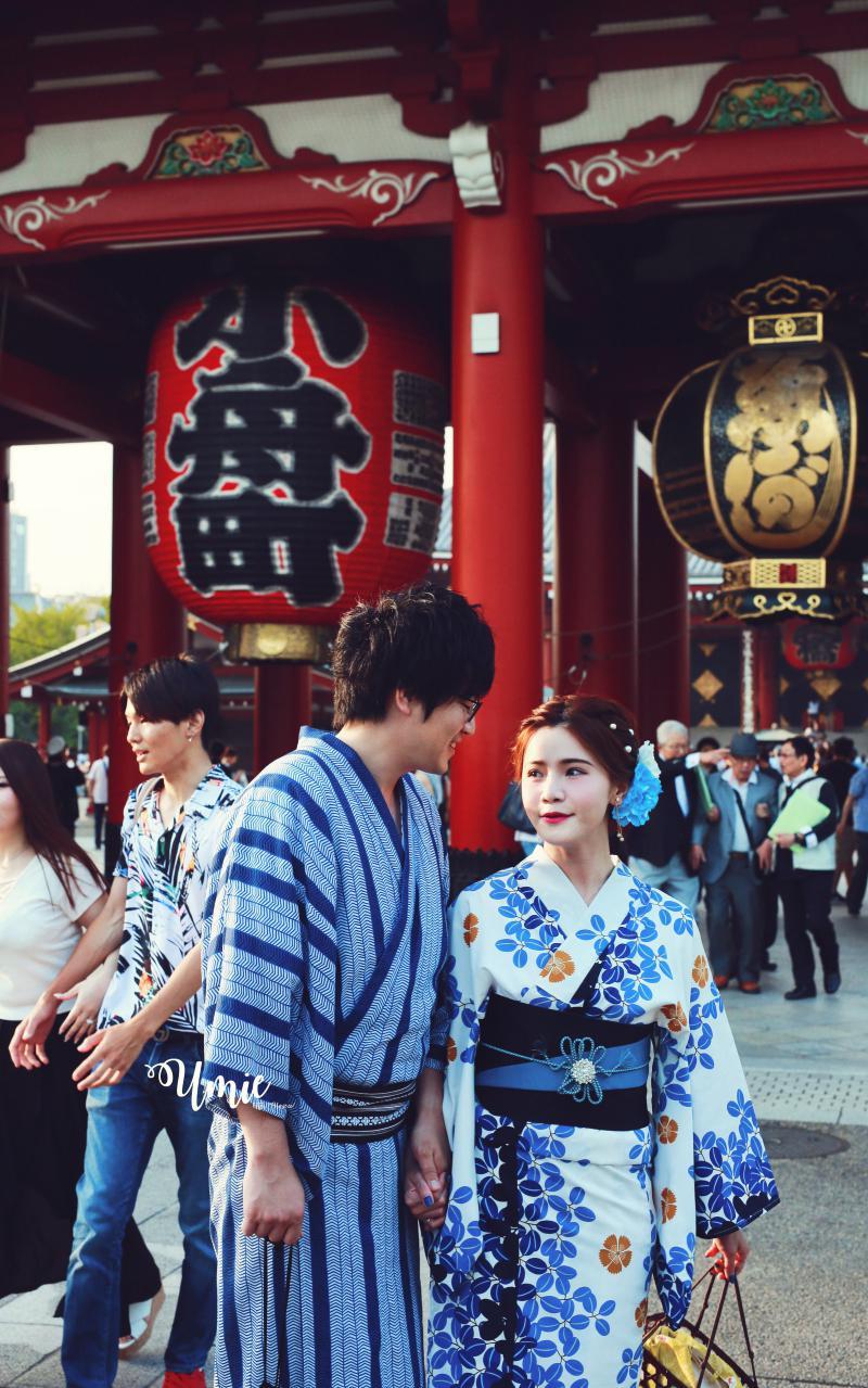 情侶東京淺草寺穿和服浴衣體驗推薦 | 梨花和服 穿浴衣和服約會 花火大會 (會說中文,日本人和服出租店)