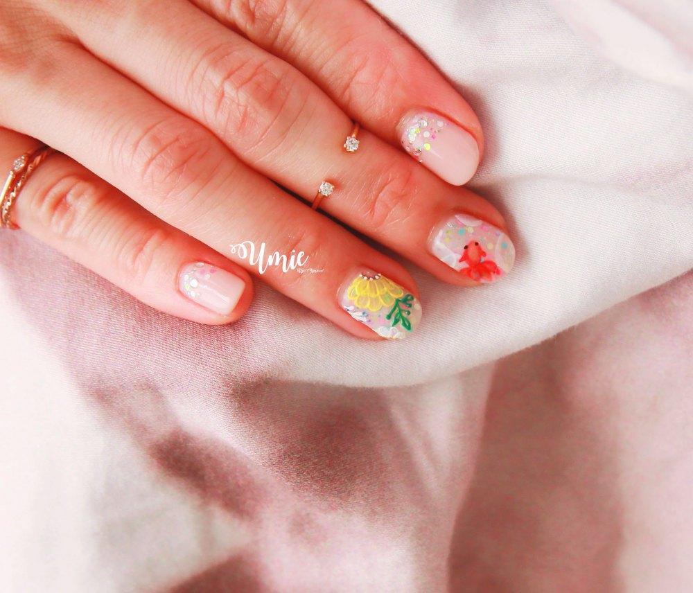 台北中山區光療指甲推薦 |Venus Nail美甲工坊| |為了夏祭典的金魚花火光療!
